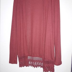 RUE 21 Cranberry soft knit cardigan with lace trim